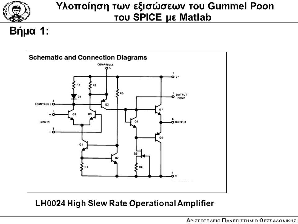 Υλοποίηση των εξισώσεων του Gummel Poon του SPICE με Matlab Βήμα 1: LH0024 High Slew Rate Operational Amplifier