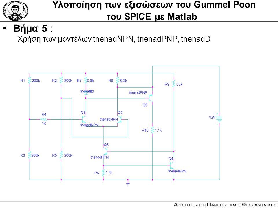 Υλοποίηση των εξισώσεων του Gummel Poon του SPICE με Matlab Βήμα 5 : Xρήση των μοντέλων tnenadNPN, tnenadPNP, tnenadD