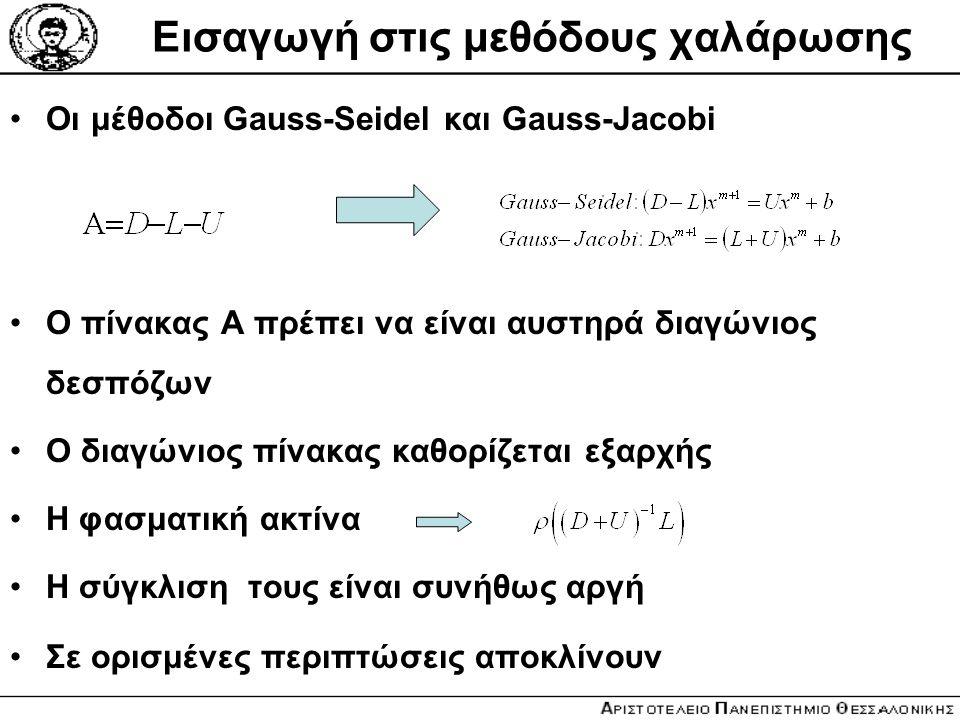 Εισαγωγή στις μεθόδους χαλάρωσης Οι μέθοδοι Gauss-Seidel και Gauss-Jacobi Ο πίνακας Α πρέπει να είναι αυστηρά διαγώνιος δεσπόζων Ο διαγώνιος πίνακας κ