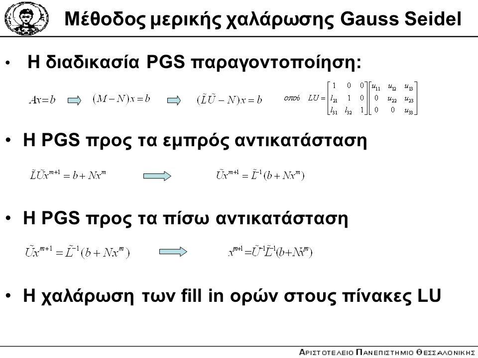 Μέθοδος μερικής χαλάρωσης Gauss Seidel Η διαδικασία PGS παραγοντοποίηση: Η PGS προς τα εμπρός αντικατάσταση Η PGS προς τα πίσω αντικατάσταση Η χαλάρωσ
