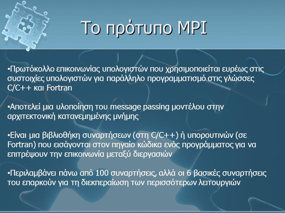 Το πρότυπο MPI Πρωτόκολλο επικοινωνίας υπολογιστών που χρησιμοποιείται ευρέως στις συστοιχίες υπολογιστών για παράλληλο προγραμματισμό στις γλώσσες C/