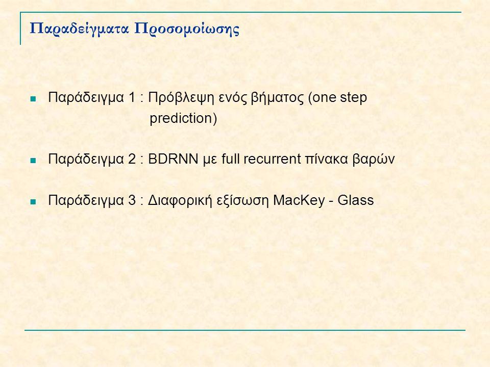 Παραδείγματα Προσομοίωσης Παράδειγμα 1 : Πρόβλεψη ενός βήματος (one step prediction) Παράδειγμα 2 : BDRNN με full recurrent πίνακα βαρών Παράδειγμα 3 : Διαφορική εξίσωση MacKey - Glass