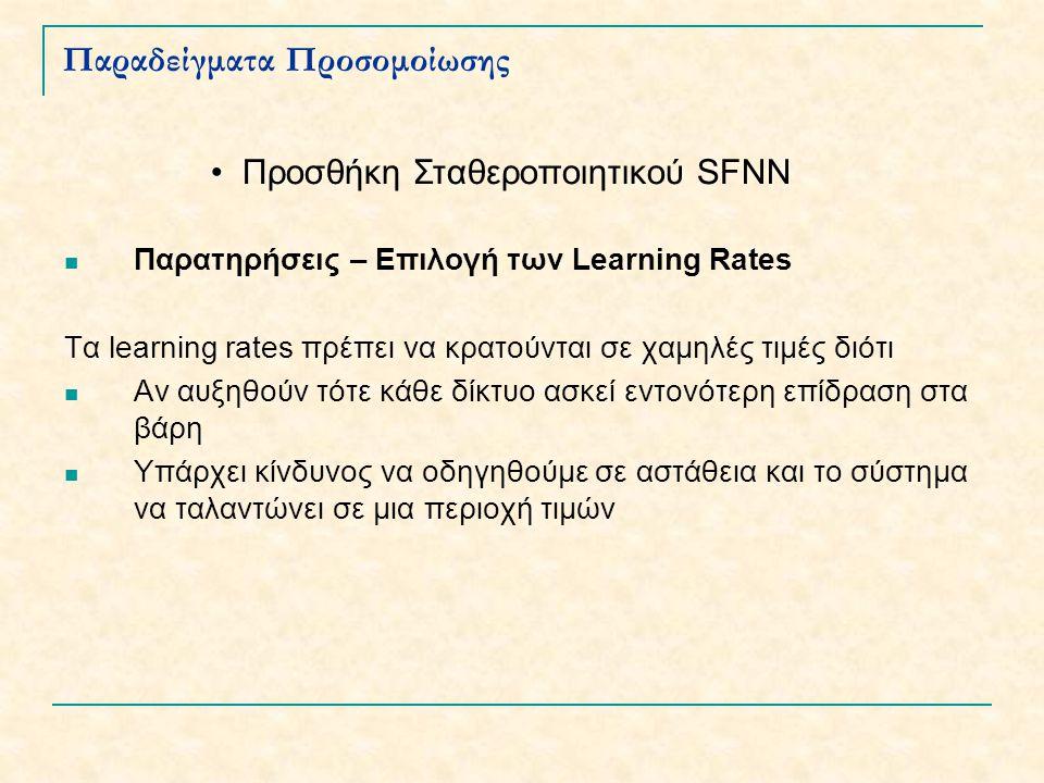 Παραδείγματα Προσομοίωσης Παρατηρήσεις – Επιλογή των Learning Rates Τα learning rates πρέπει να κρατούνται σε χαμηλές τιμές διότι Αν αυξηθούν τότε κάθε δίκτυο ασκεί εντονότερη επίδραση στα βάρη Υπάρχει κίνδυνος να οδηγηθούμε σε αστάθεια και το σύστημα να ταλαντώνει σε μια περιοχή τιμών Προσθήκη Σταθεροποιητικού SFNN