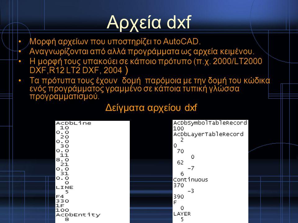 Αρχεία dxf Μορφή αρχείων που υποστηρίζει το AutoCAD. Αναγνωρίζονται από αλλά προγράμματα ως αρχεία κειμένου. H μορφή τους υπακούει σε κάποιο πρότυπο (