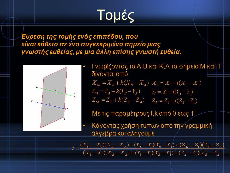 Τομές Γνωρίζοντας τα Α,Β και Κ,Λ τα σημεία Μ και Τ δίνονται από Κάνοντας χρήση τύπων από την γραμμική άλγεβρα καταλήγουμε Εύρεση της τομής ενός επιπέδ