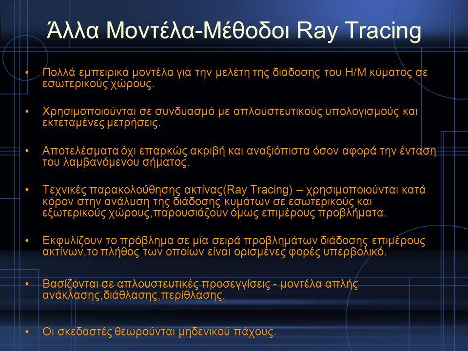 Άλλα Μοντέλα-Mέθοδοι Ray Tracing Πολλά εμπειρικά μοντέλα για την μελέτη της διάδοσης του Η/Μ κύματος σε εσωτερικούς χώρους. Χρησιμοποιούνται σε συνδυα