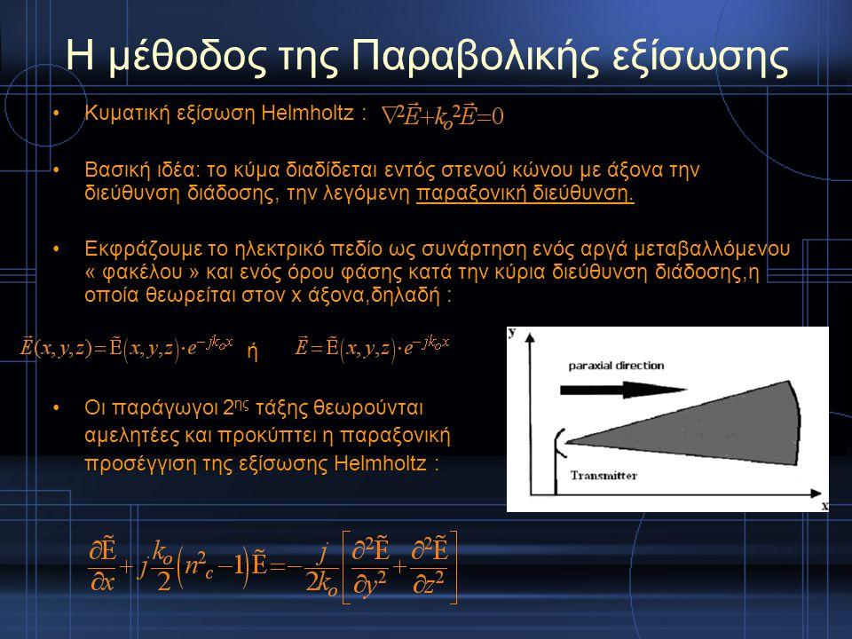 Η μέθοδος της Παραβολικής εξίσωσης Κυματική εξίσωση Helmholtz : Βασική ιδέα: το κύμα διαδίδεται εντός στενού κώνου με άξονα την διεύθυνση διάδοσης, τη