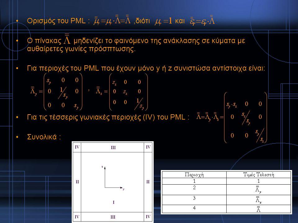 Ορισμός του PML :,διότι και Ο πίνακας μηδενίζει το φαινόμενο της ανάκλασης σε κύματα με αυθαίρετες γωνίες πρόσπτωσης. Για περιοχές του PML που έχουν μ