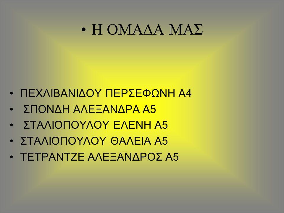 Η ΟΜΑΔΑ ΜΑΣ ΠΕΧΛΙΒΑΝΙΔΟΥ ΠΕΡΣΕΦΩΝΗ Α4 ΣΠΟΝΔΗ ΑΛΕΞΑΝΔΡΑ Α5 ΣΤΑΛΙΟΠΟΥΛΟΥ ΕΛΕΝΗ Α5 ΣΤΑΛΙΟΠΟΥΛΟΥ ΘΑΛΕΙΑ Α5 ΤΕΤΡΑΝΤΖΕ ΑΛΕΞΑΝΔΡΟΣ Α5