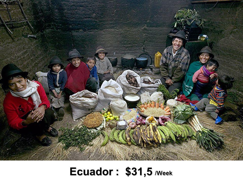 Ecuador : $31,5 /Week