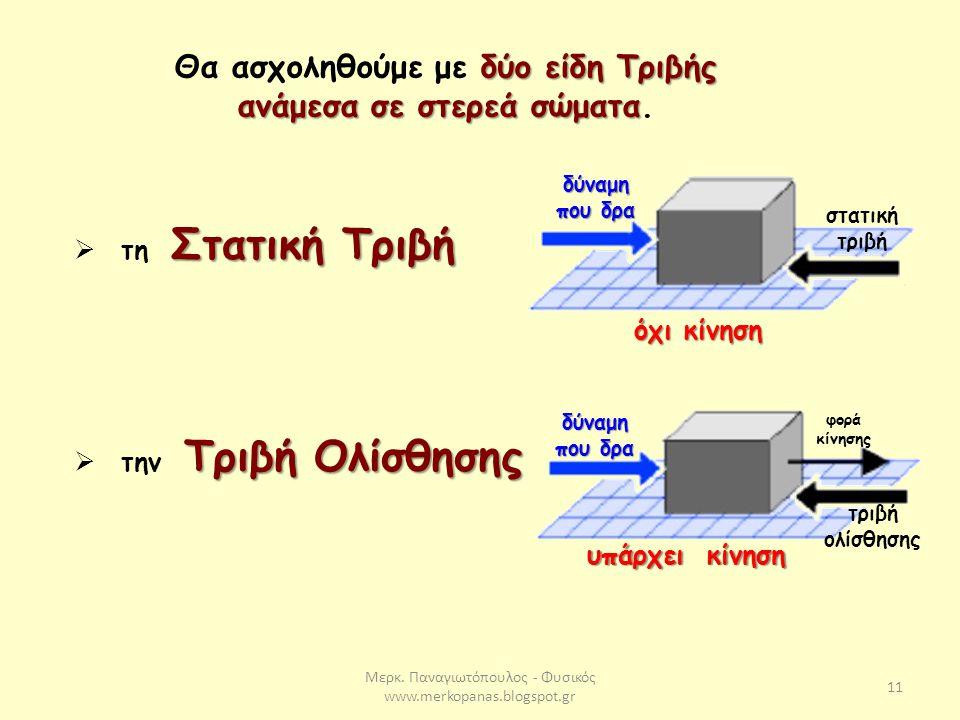 Μερκ. Παναγιωτόπουλος - Φυσικός www.merkopanas.blogspot.gr 11 δύο είδη Τριβής ανάμεσα σε στερεά σώματα Θα ασχοληθούμε με δύο είδη Τριβής ανάμεσα σε στ