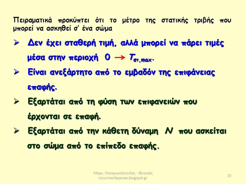 Μερκ. Παναγιωτόπουλος - Φυσικός www.merkopanas.blogspot.gr 15 Πειραματικά προκύπτει ότι το μέτρο της στατικής τριβής που μπορεί να ασκηθεί σ' ένα σώμα