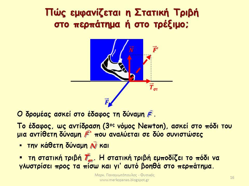 Μερκ. Παναγιωτόπουλος - Φυσικός www.merkopanas.blogspot.gr 16 Πώς εμφανίζεται η Στατική Τριβή στο περπάτημα ή στο τρέξιμο; Ο δρομέας ασκεί στο έδαφος