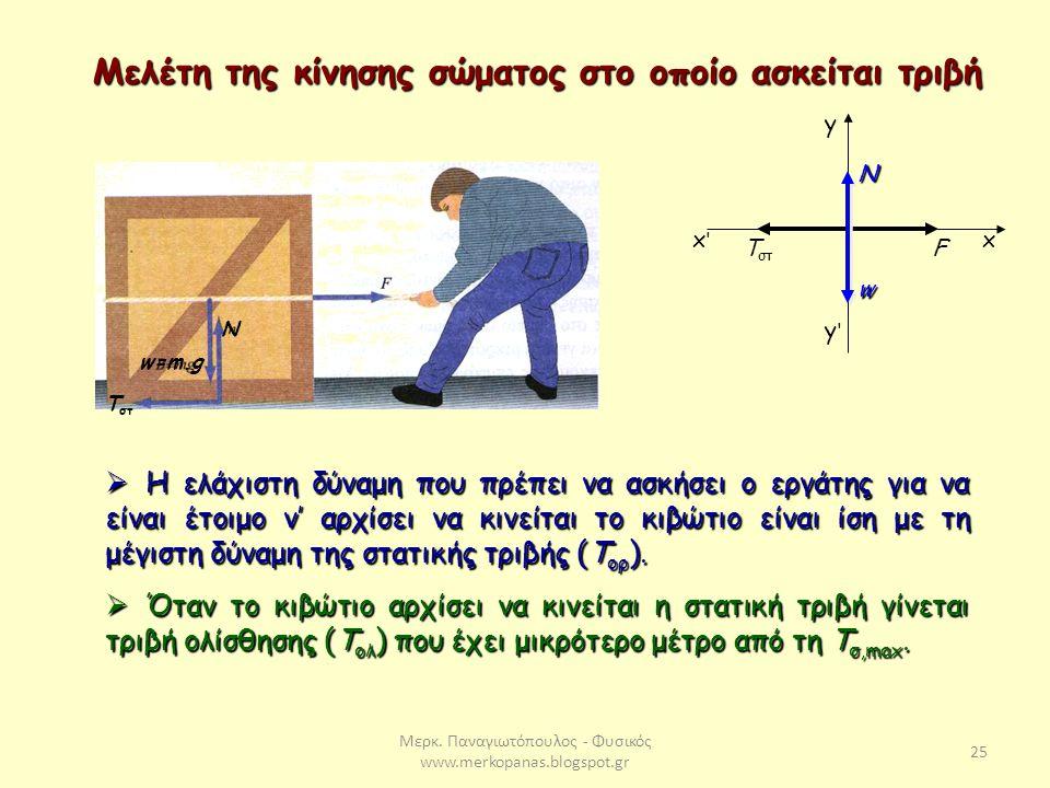Μερκ. Παναγιωτόπουλος - Φυσικός www.merkopanas.blogspot.gr 25 Μελέτη της κίνησης σώματος στο οποίο ασκείται τριβή Ν w=m.g T στ F y y'y' xx'x' Ν w  Η