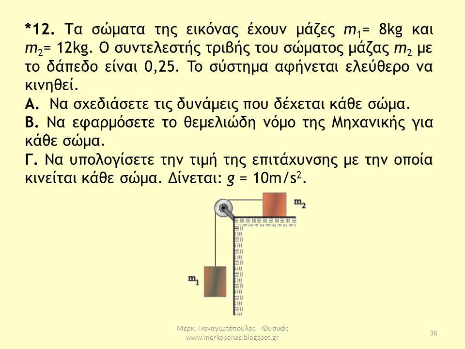 Μερκ. Παναγιωτόπουλος - Φυσικός www.merkopanas.blogspot.gr 36 *12. Τα σώματα της εικόνας έχουν μάζες m 1 = 8kg και m 2 = 12kg. O συντελεστής τριβής το
