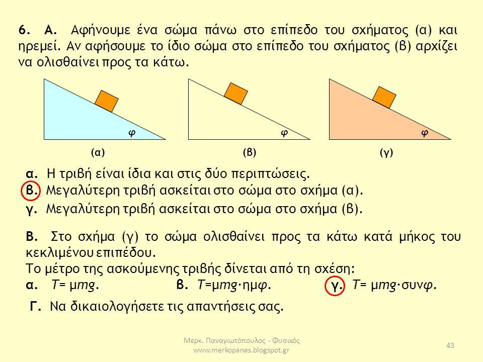 Μερκ. Παναγιωτόπουλος - Φυσικός www.merkopanas.blogspot.gr 43 6. Α. Αφήνουμε ένα σώμα πάνω στο επίπεδο του σχήματος (α) και ηρεμεί. Αν αφήσουμε το ίδι