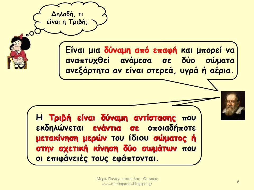 Μερκ. Παναγιωτόπουλος - Φυσικός www.merkopanas.blogspot.gr 9 Δηλαδή, τι είναι η Τριβή; δύναμη από επαφή Είναι μια δύναμη από επαφή και μπορεί να αναπτ