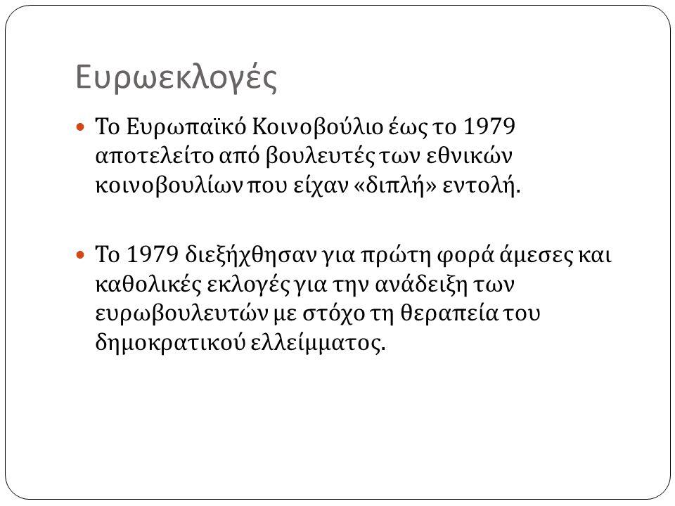 Ευρωεκλογές Το Ευρωπαϊκό Κοινοβούλιο έως το 1979 αποτελείτο από βουλευτές των εθνικών κοινοβουλίων που είχαν « διπλή » εντολή.