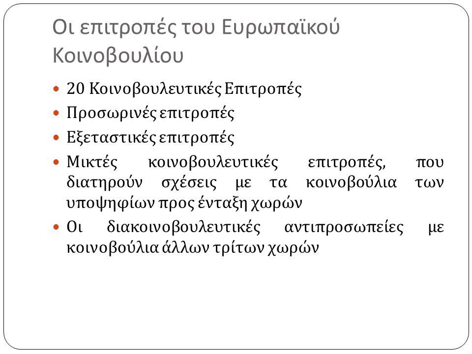 Οι επιτροπές του Ευρωπαϊκού Κοινοβουλίου 20 Κοινοβουλευτικές Επιτροπές Προσωρινές επιτροπές Εξεταστικές επιτροπές Μικτές κοινοβουλευτικές επιτροπές, που διατηρούν σχέσεις με τα κοινοβούλια των υποψηφίων προς ένταξη χωρών Οι διακοινοβουλευτικές αντιπροσωπείες με κοινοβούλια άλλων τρίτων χωρών