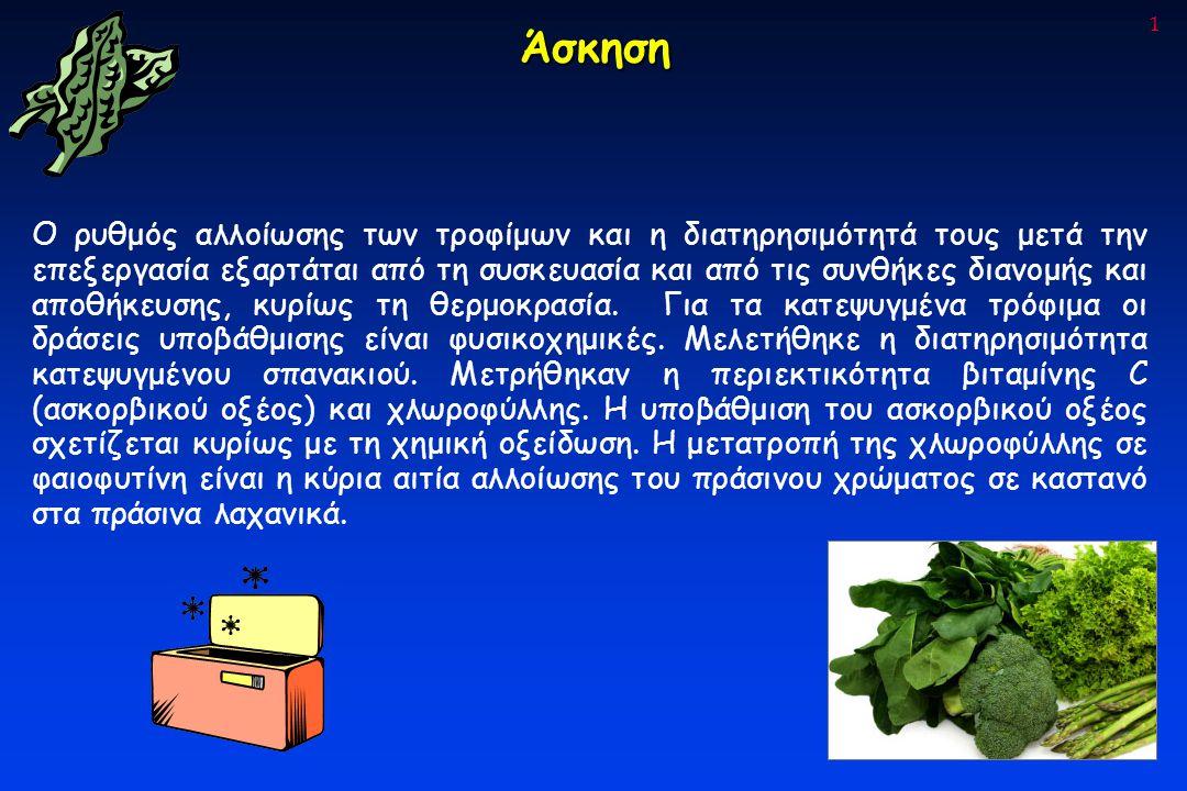 1 Άσκηση Ο ρυθμός αλλοίωσης των τροφίμων και η διατηρησιμότητά τους μετά την επεξεργασία εξαρτάται από τη συσκευασία και από τις συνθήκες διανομής και