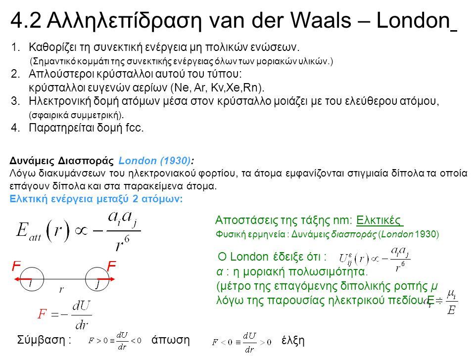 Μορφή U(r) για συνήθη μη πολικά άτομα ; Πολύ μεγάλες αποστάσεις : καμία αλληλεπίδραση, U(r)=0 Φυσική ερμηνεία : Δυνάμεις διασποράς (London 1930) Αποστάσεις της τάξης nm: Ελκτικές Ο London έδειξε ότι : α : η μοριακή πολωσιμότητα.