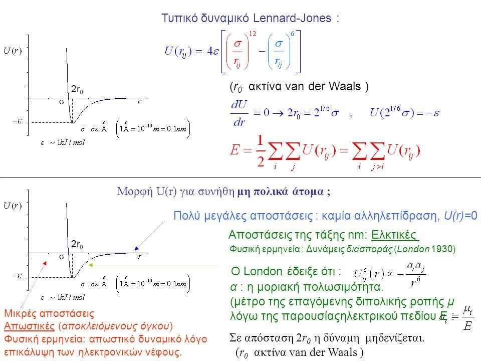 Μορφή U(r) για συνήθη μη πολικά άτομα ; Πολύ μεγάλες αποστάσεις : καμία αλληλεπίδραση, U(r)=0 Φυσική ερμηνεία : Δυνάμεις διασποράς (London 1930) Αποστ