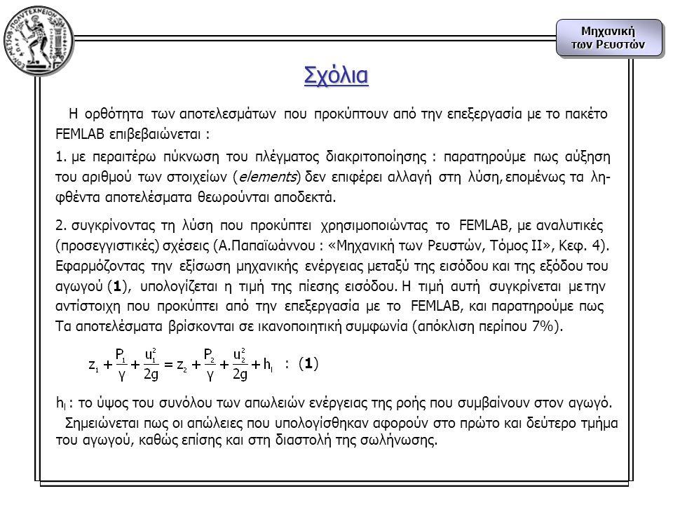 Μηχανική των Ρευστών Μηχανική Η ορθότητα των αποτελεσμάτων που προκύπτουν από την επεξεργασία με το πακέτο FEMLAB επιβεβαιώνεται : 1.