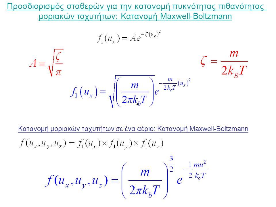 Προσδιορισμός σταθερών για την κατανομή πυκνότητας πιθανότητας μοριακών ταχυτήτων: Κατανομή Maxwell-Boltzmann Κατανομή μοριακών ταχυτήτων σε ένα αέριο