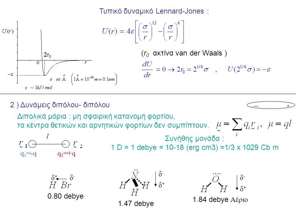 Τυπικό δυναμικό Lennard-Jones : σ 2r 0 (r 0 ακτίνα van der Waals ) 2 ) Δυνάμεις διπόλου- διπόλου +  Διπολικά μόρια : μη σφαιρική κατανομή φορτίου, τα κέντρα θετικών και αρνητικών φορτίων δεν συμπίπτουν.