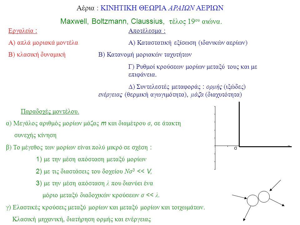 Αέρια : ΚΙΝΗΤΙΚΗ ΘΕΩΡΙΑ ΑΡΑΙΩΝ ΑΕΡΙΩΝ Maxwell, Boltzmann, Claussius, τέλος 19 ου αιώνα. Εργαλεία : Αποτέλεσμα : Α) απλά μοριακά μοντέλα Α) Καταστατική
