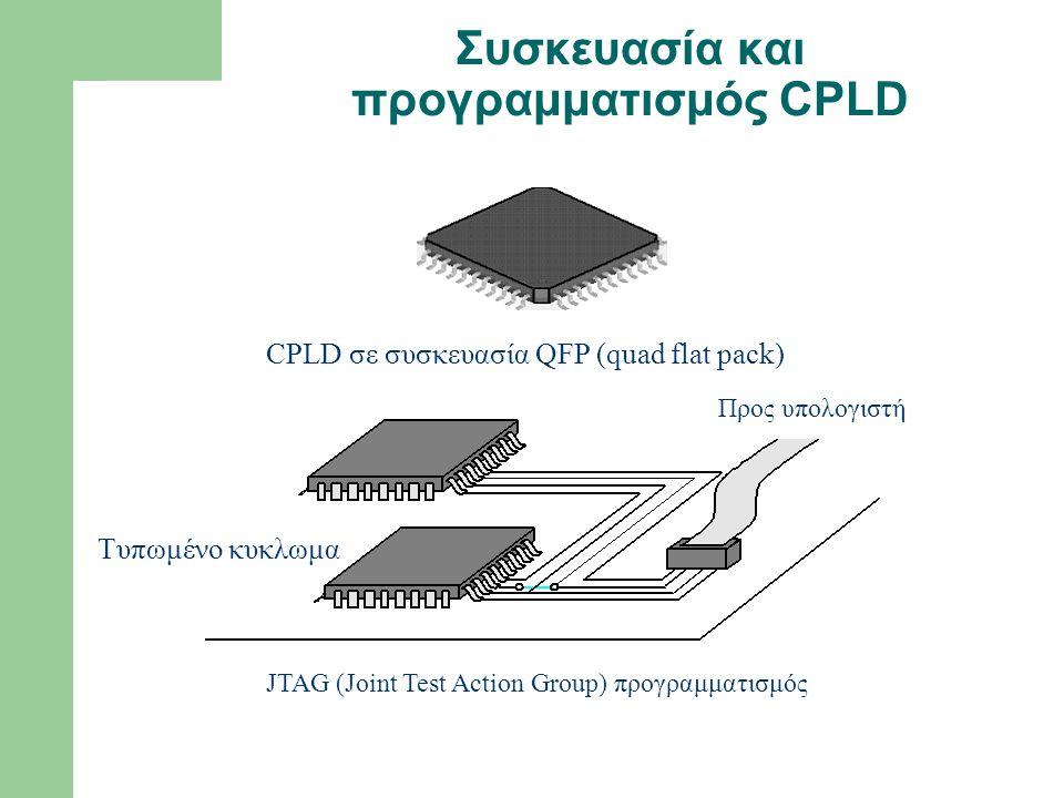 Συσκευασία και προγραμματισμός CPLD CPLD σε συσκευασία QFP (quad flat pack) Τυπωμένο κυκλωμα Προς υπολογιστή JTAG (Joint Test Action Group) προγραμματ