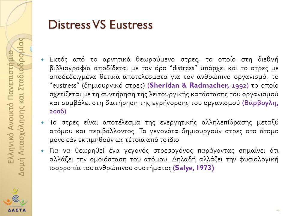 Distress VS Eustress Εκτός από το αρνητικά θεωρούμενο στρες, το οποίο στη διεθνή βιβλιογραφία αποδίδεται με τον όρο distress υπάρχει και το στρες με αποδεδειγμένα θετικά αποτελέσματα για τον ανθρώπινο οργανισμό, το eustress ( δημιουργικό στρες ) (Sheridan & Radmacher, 1992) το οποίο σχετίζεται με τη συντήρηση της λειτουργικής κατάστασης του οργανισμού και συμβάλει στη διατήρηση της εγρήγορσης του οργανισμού ( Βάρβογλη, 2006) Το στρες είναι αποτέλεσμα της ενεργητικής αλληλεπίδρασης μεταξύ ατόμου και περιβάλλοντος.