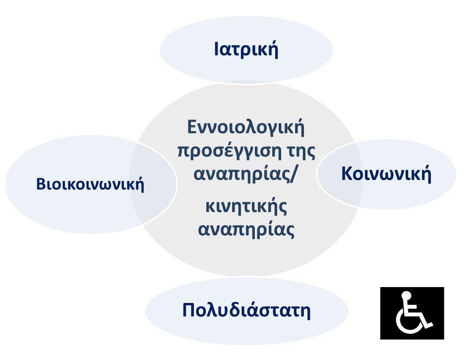 Εννοιολογική προσέγγιση της αναπηρίας/ κινητικής αναπηρίας Ιατρική Κοινωνική Πολυδιάστατη Βιοικοινωνική