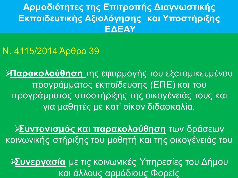 Αρμοδιότητες της Επιτροπής Διαγνωστικής Εκπαιδευτικής Αξιολόγησης και Υποστήριξης ΕΔΕΑΥ Ν.
