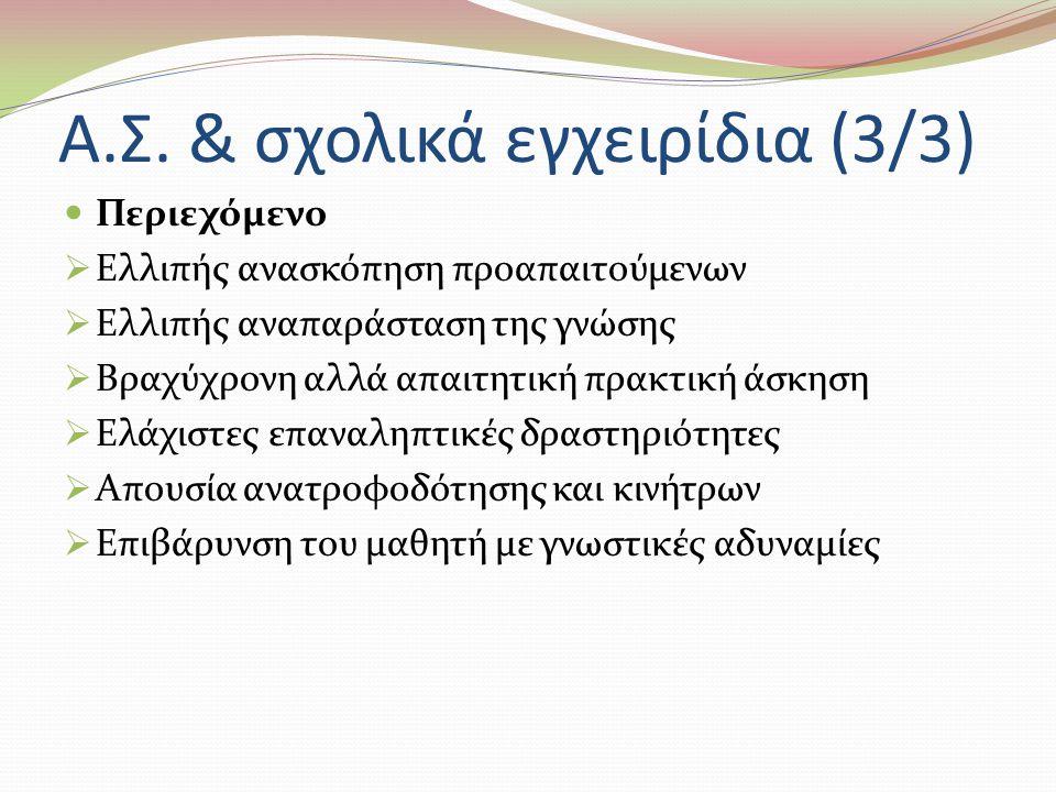 Α.Σ. & σχολικά εγχειρίδια (3/3) Περιεχόμενο  Ελλιπής ανασκόπηση προαπαιτούμενων  Ελλιπής αναπαράσταση της γνώσης  Βραχύχρονη αλλά απαιτητική πρακτι