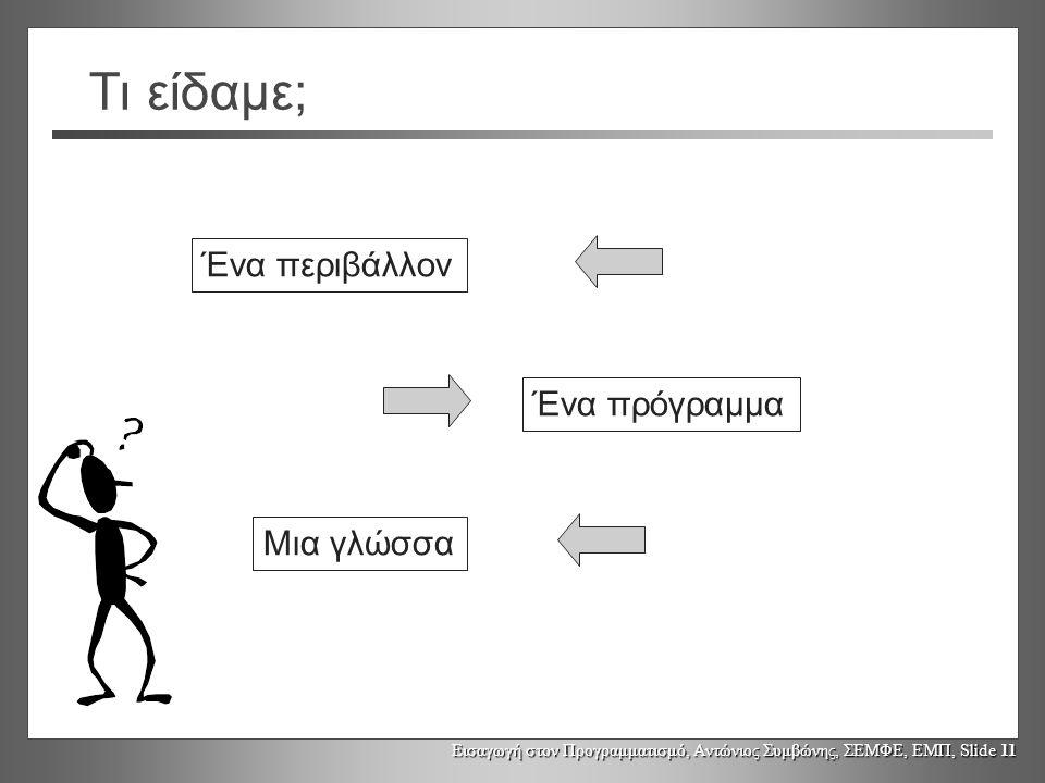 Εισαγωγή στον Προγραμματισμό, Αντώνιος Συμβώνης, ΣΕΜΦΕ, ΕΜΠ, Slide 11 Τι είδαμε; Ένα περιβάλλον Μια γλώσσα Ένα πρόγραμμα