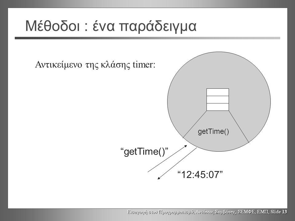 Εισαγωγή στον Προγραμματισμό, Αντώνιος Συμβώνης, ΣΕΜΦΕ, ΕΜΠ, Slide 13 Μέθοδοι : ένα παράδειγμα Αντικείμενο της κλάσης timer: getTime() getTime() 12:45:07