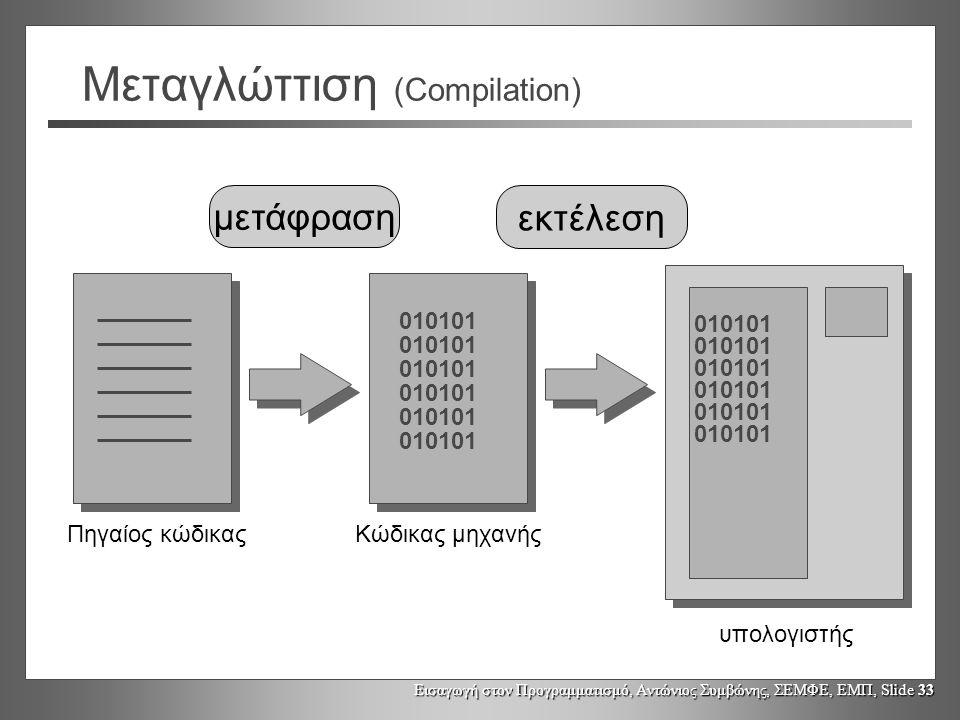 Εισαγωγή στον Προγραμματισμό, Αντώνιος Συμβώνης, ΣΕΜΦΕ, ΕΜΠ, Slide 33 μετάφραση Μεταγλώττιση (Compilation) 010101 Πηγαίος κώδικαςΚώδικας μηχανής υπολογιστής εκτέλεση