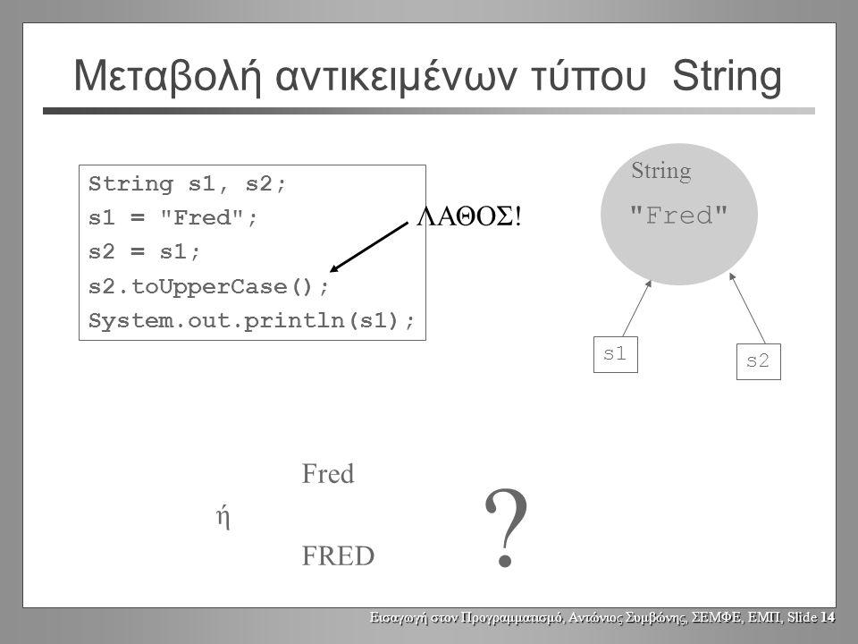 Εισαγωγή στον Προγραμματισμό, Αντώνιος Συμβώνης, ΣΕΜΦΕ, ΕΜΠ, Slide 13 Μεταβολή αντικειμένων τύπου String String s1, s2; s1 = Fred ; s2 = s1; s2.toUpperCase(); System.out.println(s1); Fred ή FRED .