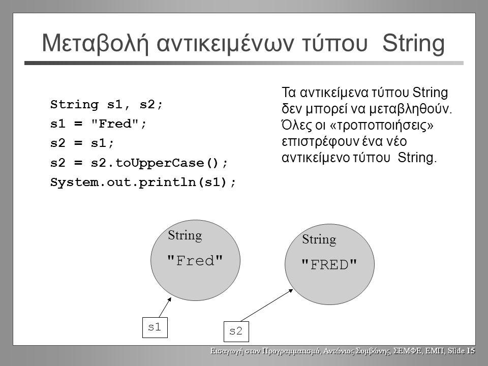 Εισαγωγή στον Προγραμματισμό, Αντώνιος Συμβώνης, ΣΕΜΦΕ, ΕΜΠ, Slide 14 Μεταβολή αντικειμένων τύπου String String s1, s2; s1 = Fred ; s2 = s1; s2.toUpperCase(); System.out.println(s1); Fred ή FRED .