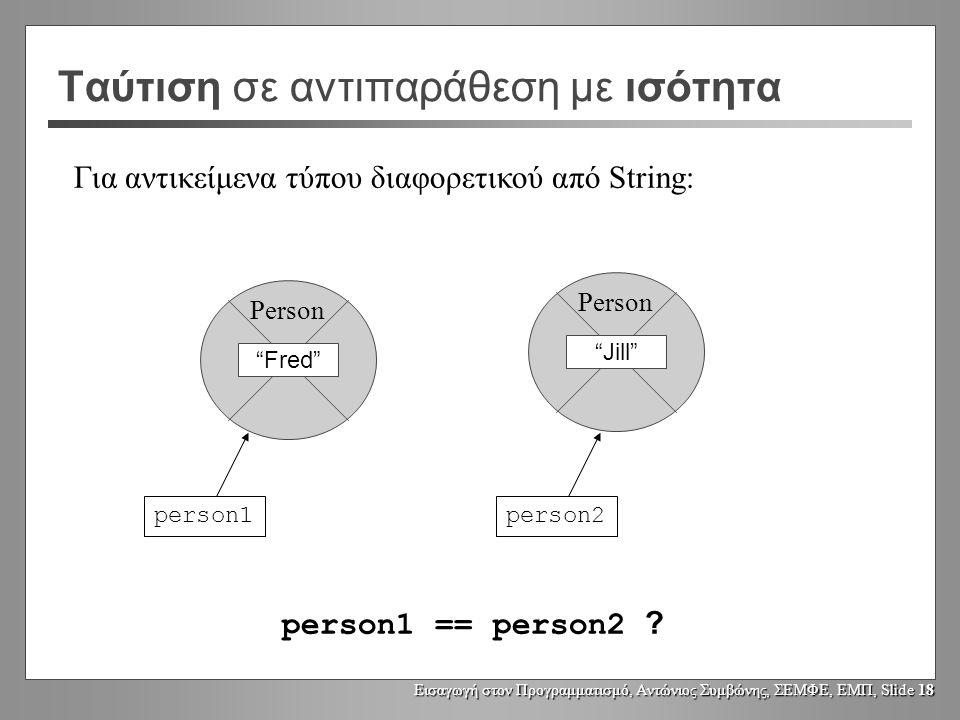 Εισαγωγή στον Προγραμματισμό, Αντώνιος Συμβώνης, ΣΕΜΦΕ, ΕΜΠ, Slide 17 Δημιουργία συναφών Strings String replace(char oldChar, char newChar); String toLowerCase(); String toUpperCase(); String trim();