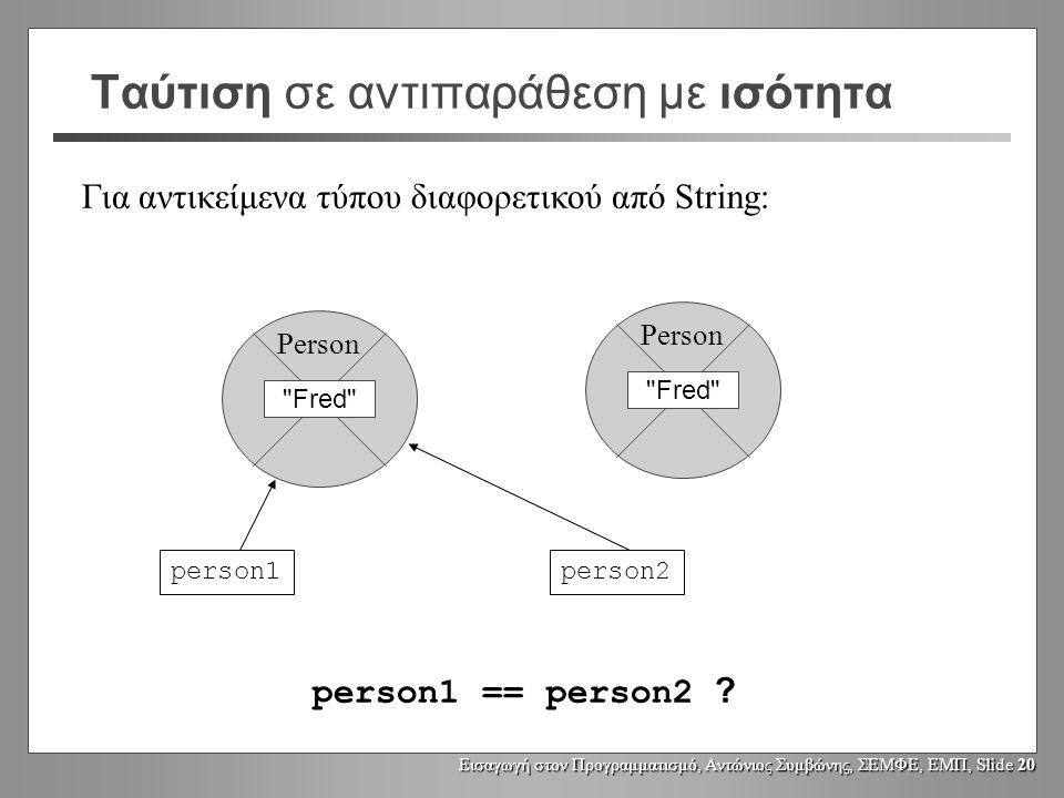 Εισαγωγή στον Προγραμματισμό, Αντώνιος Συμβώνης, ΣΕΜΦΕ, ΕΜΠ, Slide 19 Ταύτιση σε αντιπαράθεση με ισότητα Για αντικείμενα τύπου διαφορετικού από String: Fred Person person1person2 person1 == person2 .