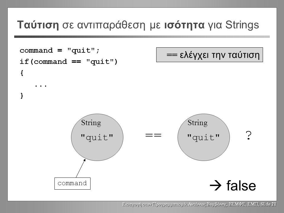 Εισαγωγή στον Προγραμματισμό, Αντώνιος Συμβώνης, ΣΕΜΦΕ, ΕΜΠ, Slide 20 Ταύτιση σε αντιπαράθεση με ισότητα Για αντικείμενα τύπου διαφορετικού από String: person1person2 person1 == person2 .