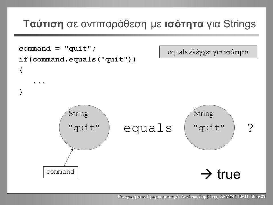 Εισαγωγή στον Προγραμματισμό, Αντώνιος Συμβώνης, ΣΕΜΦΕ, ΕΜΠ, Slide 21 Ταύτιση σε αντιπαράθεση με ισότητα για Strings quit String command command = quit ; if(command == quit ) {...