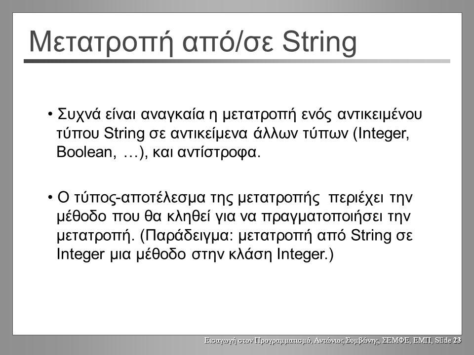 Εισαγωγή στον Προγραμματισμό, Αντώνιος Συμβώνης, ΣΕΜΦΕ, ΕΜΠ, Slide 22 Ταύτιση σε αντιπαράθεση με ισότητα για Strings quit String command command = quit ; if(command.equals( quit )) {...