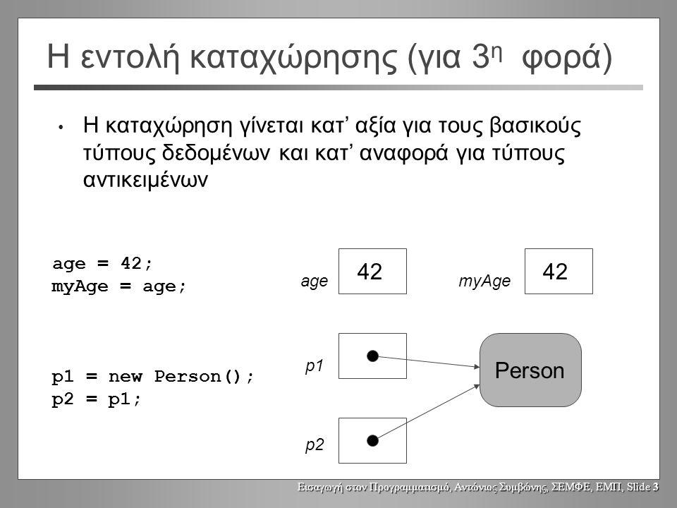 Εισαγωγή στον Προγραμματισμό, Αντώνιος Συμβώνης, ΣΕΜΦΕ, ΕΜΠ, Slide 3 Η εντολή καταχώρησης (για 3 η φορά) Η καταχώρηση γίνεται κατ' αξία για τους βασικούς τύπους δεδομένων και κατ' αναφορά για τύπους αντικειμένων age = 42; myAge = age; p1 = new Person(); p2 = p1; 42 Person 42 agemyAge p1 p2