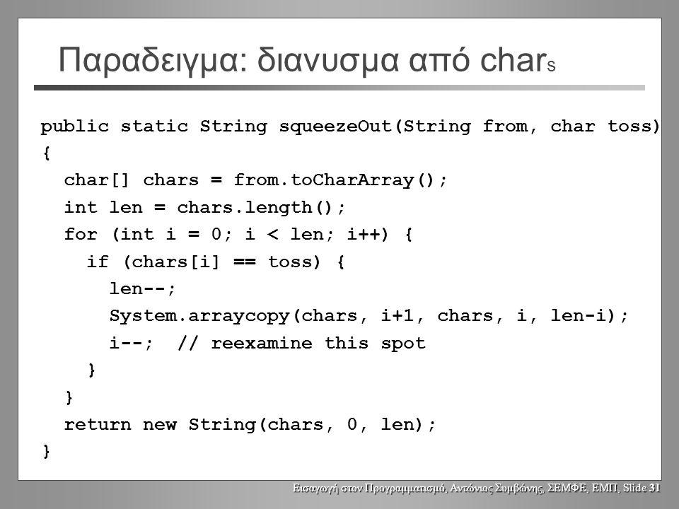 Εισαγωγή στον Προγραμματισμό, Αντώνιος Συμβώνης, ΣΕΜΦΕ, ΕΜΠ, Slide 30 Strings και διανύσματα από char Ένα String αναπαρίσταται με ένα διανυσμα από char s Ένα String μπορεί να μετατραπεί από/σε διάνυσμα από char s