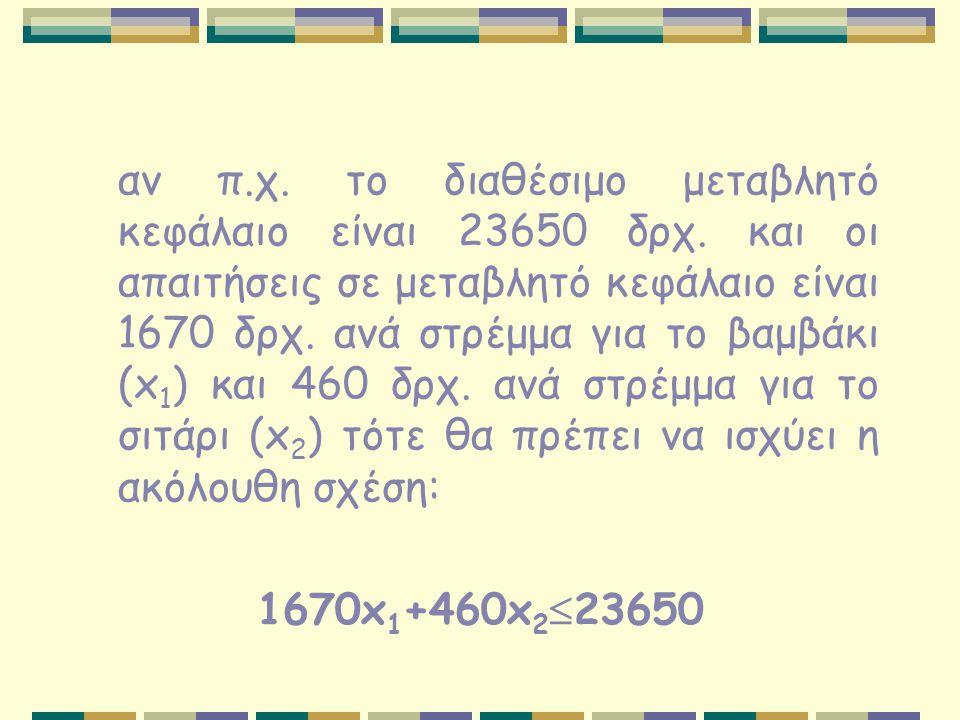 αν π.χ. το διαθέσιμο μεταβλητό κεφάλαιο είναι 23650 δρχ. και οι απαιτήσεις σε μεταβλητό κεφάλαιο είναι 1670 δρχ. ανά στρέμμα για το βαμβάκι (x 1 ) και