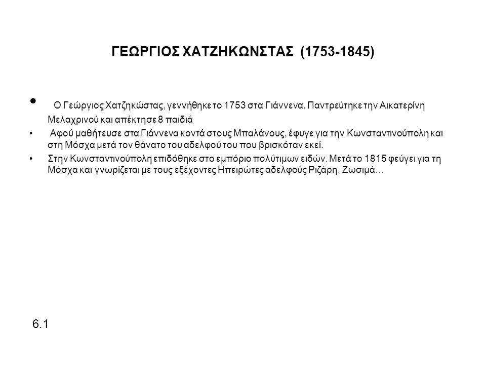 ΓΕΩΡΓΙΟΣ ΧΑΤΖΗΚΩΝΣΤΑΣ (1753-1845) Ο Γεώργιος Χατζηκώστας, γεννήθηκε το 1753 στα Γιάννενα.