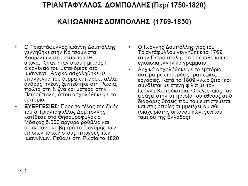 ΤΡΙΑΝΤΑΦΥΛΛΟΣ ΔΟΜΠΟΛΛΗΣ (Περί 1750-1820) ΚΑΙ ΙΩΑΝΝΗΣ ΔΟΜΠΟΛΛΗΣ (1769-1850) Ο Τριαντάφυλλος Ιωάννη Δομπόλλης γεννήθηκε στην Κριτσούνιστα Κουρέντων στα μέσα του ΙΗ΄ αιώνα.